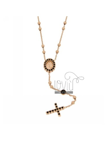 COLLIER CROWN ROSE GOLD PLATED SILVER CROSS WITH TIT 925 ‰, MADONNA AND PARTITIONS IN ZIRCONIA BLACKS
