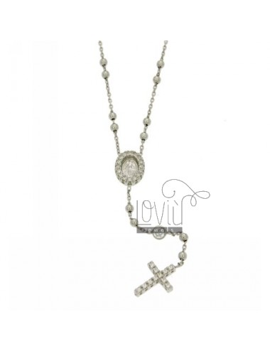 COLLIER SILVER CROWN rhodium 925 ‰ TIT WITH THE CROSS, THE MADONNA AND PARTITIONS IN ZIRCONIA WHITE