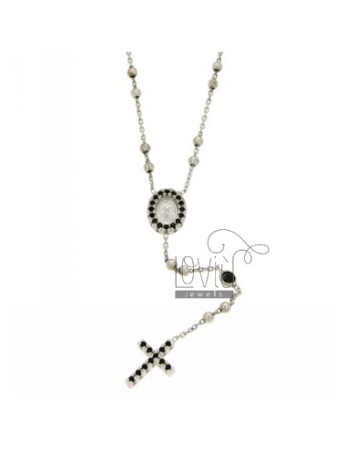 COLLIER SILVER CROWN rhodium 925 ‰ TIT WITH THE CROSS, THE MADONNA AND PARTITIONS IN ZIRCONIA BLACKS