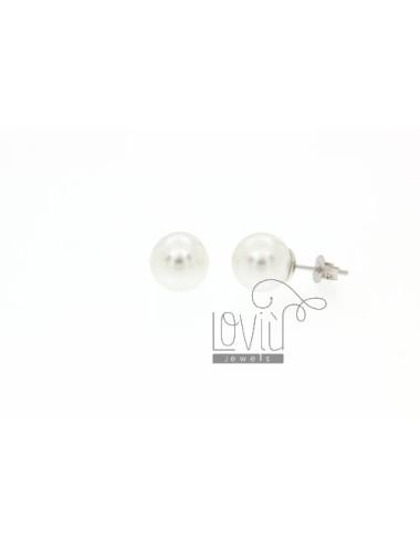 A PEARL EARRINGS 10 MM IN LOBO AGRGENTO TIT 925
