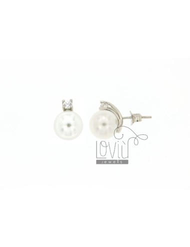 A PEARL EARRING LOBO 10 MM WITH ZIRCON SILVER TIT.925
