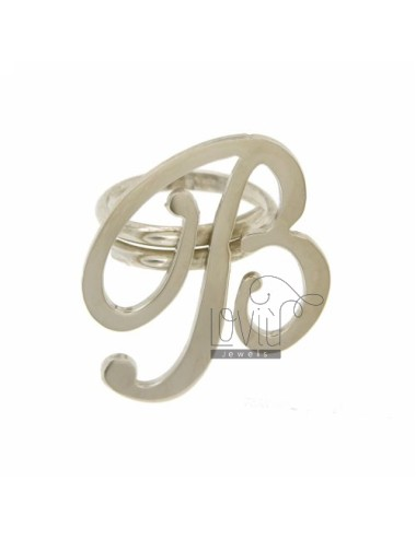 RING ADJUSTABLE LETTER &quotB&quot IN SILVER RHODIUM TIT 925 ‰