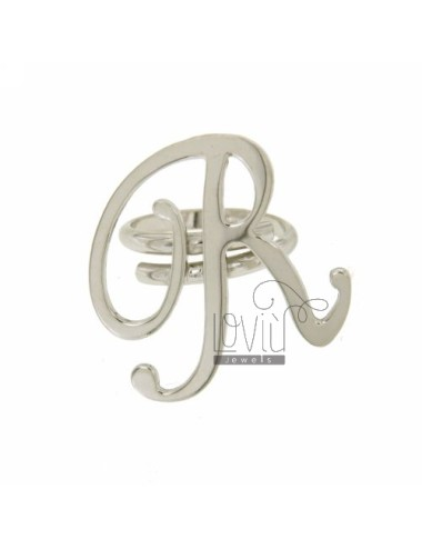 RING ADJUSTABLE LETTER &quotR&quot IN SILVER RHODIUM TIT 925 ‰