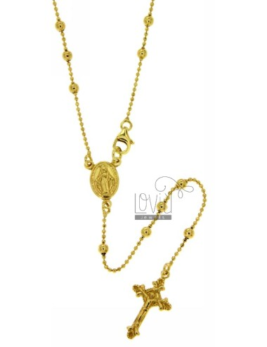 ROSARY BEAD CHAIN &8203&8203NECKLACE WITH SMOOTH BALL 50 CM 3 MM 925 TIT SILVER GOLD PLATED