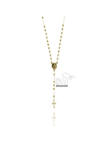 ROSARY NECKLACE WITH BALL faceted MM 4 CM 60 TIT SILVER 925 GOLD PLATED