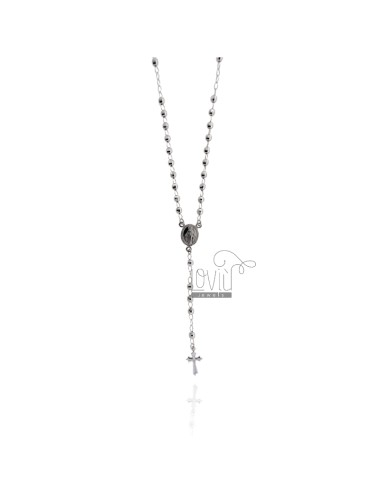 ROSARY NECKLACE WITH BALL faceted MM 45 CM 4 SILVER RHODIUM 925