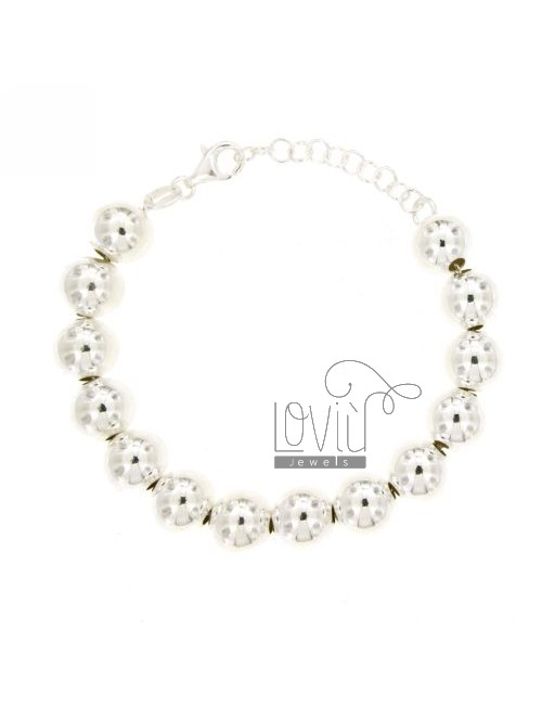 BRACELET BALL TO 10 MM SILVER 925 ‰ WITH CLOSURE