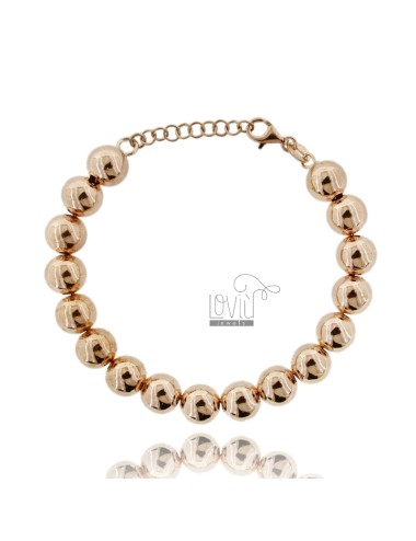 BRACELET SPHERES OF 10 MM SILVER ROSE GOLD PLATED 925 ‰ WITH CLOSURE
