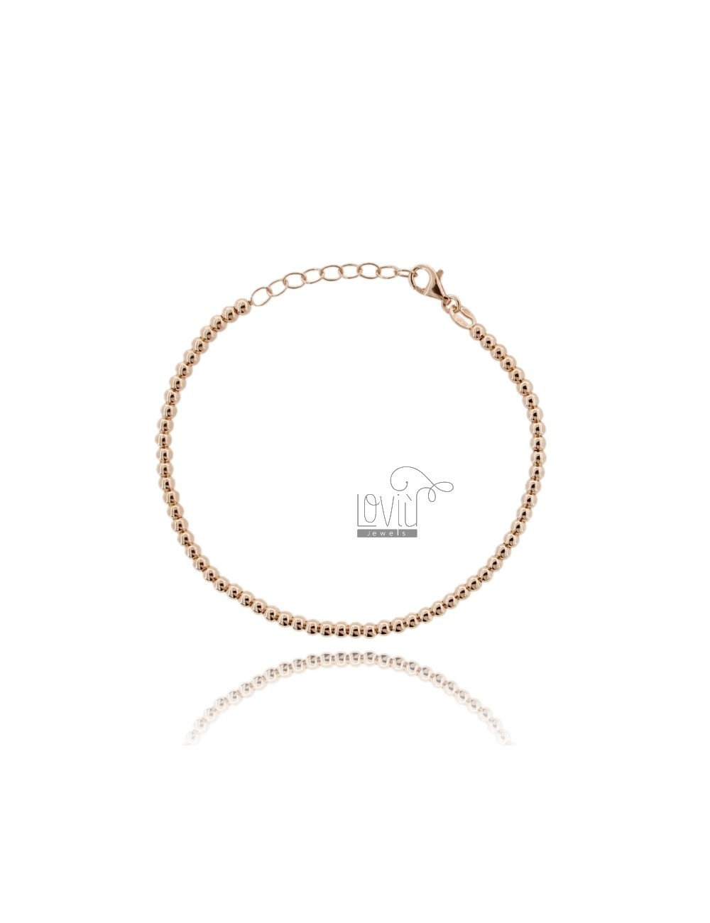 BRACELET BALL 3 MM SILVER PLATED ROSE GOLD 925 ‰ WITH CLOSURE