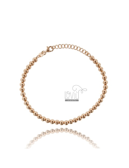 BRACELET BALL 4 MM SILVER PLATED ROSE GOLD 925 ‰ WITH CLOSURE