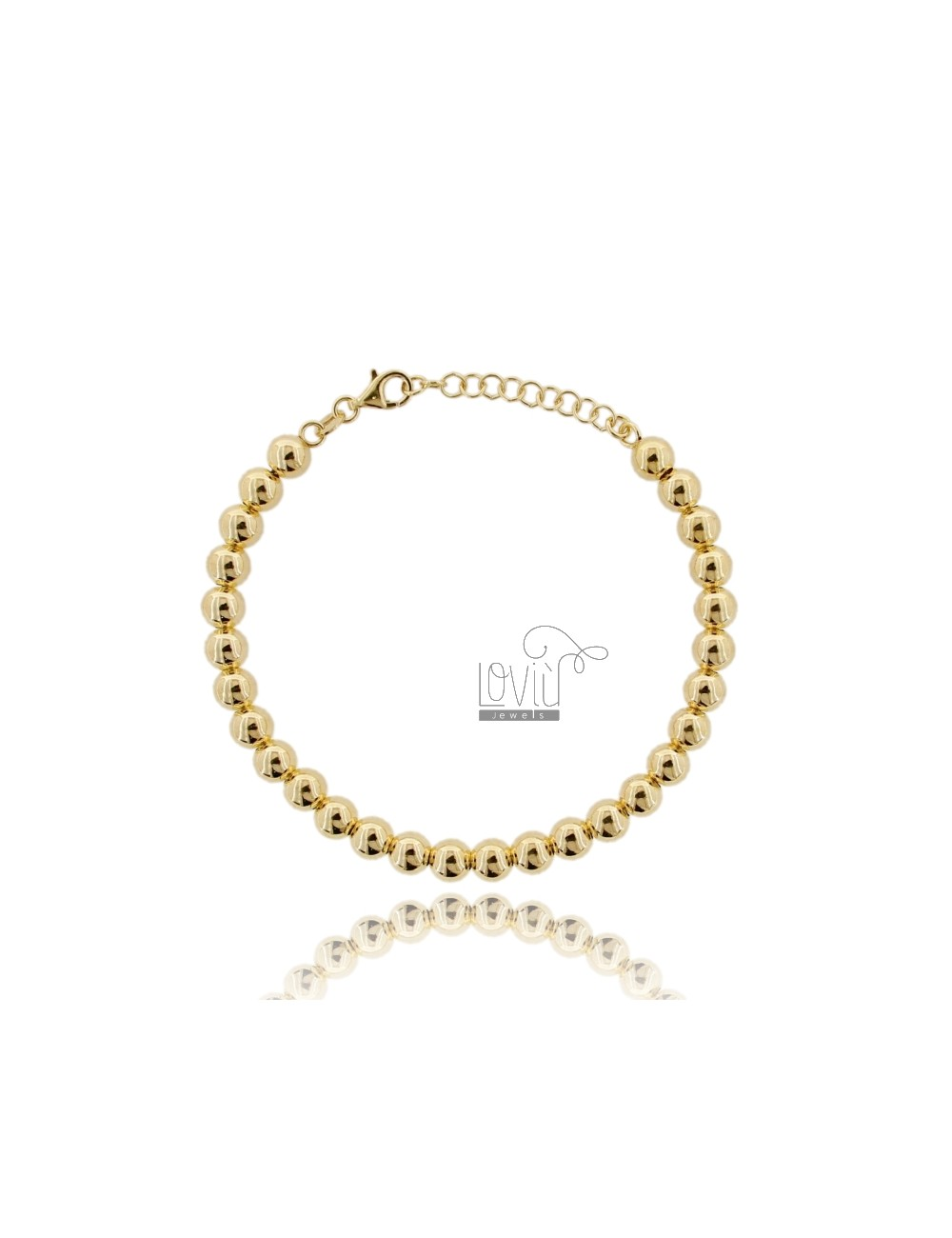 BRACELET BALL 6 MM SILVER GOLD PLATED 925 ‰ WITH CLOSURE