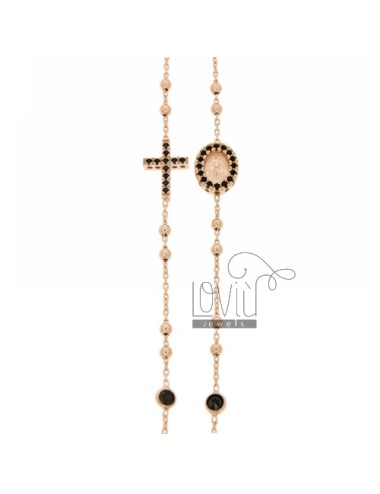 COLLIER ROSE GOLD PLATED SILVER CROSS WITH TIT 925, MADONNA AND PARTITIONS IN ZIRCONIA BLACKS