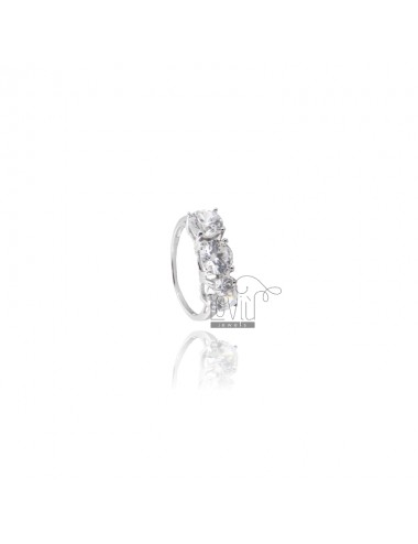 TRILOGY RING IN SILVER TITLE 925 MM 6 AND ZIRCONIA SIZE 12