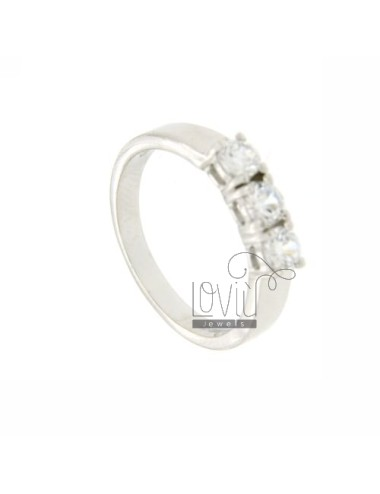 TRILOGY RING IN SILVER 4 MM 925 TIT AND ZIRCONIA SIZE 10