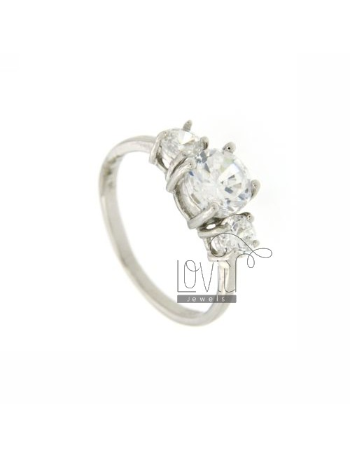 TRILOGY RING 925 SILVER TITLE AND ZIRCONIA