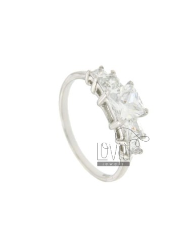 5 STONE RING SQUARE MM 6X6 4X4 3X3 SILVER TITLE 925 AND ZIRCONIA SIZE 10