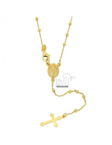 ROSARY NECKLACE CABLE WITH BALL 2.5 CM 60 MM SMOOTH SILVER TIT 925 ‰ GOLD PLATED YELLOW