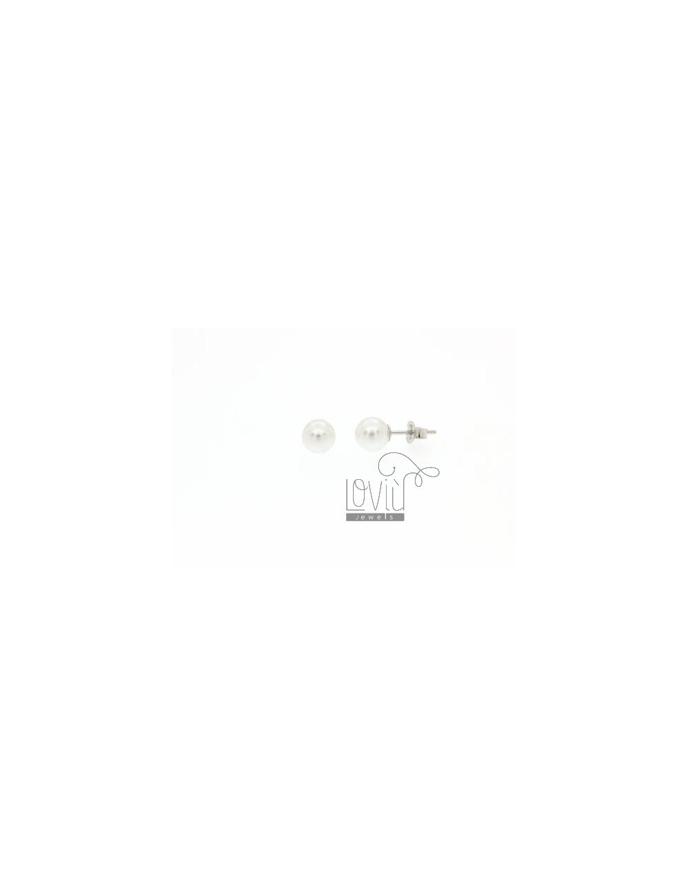 A LOBO PEARL EARRINGS 7 MM SILVER TIT.925