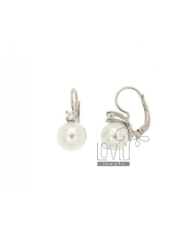 Monachella PEARL EARRING AND 10 MM ZIRCON SILVER RHODIUM TIT.925