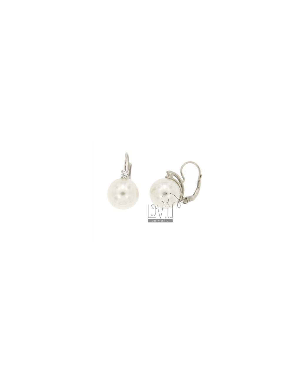 14 MM PEARL EARRING nun ZIRCON AND IN TIT AG.925