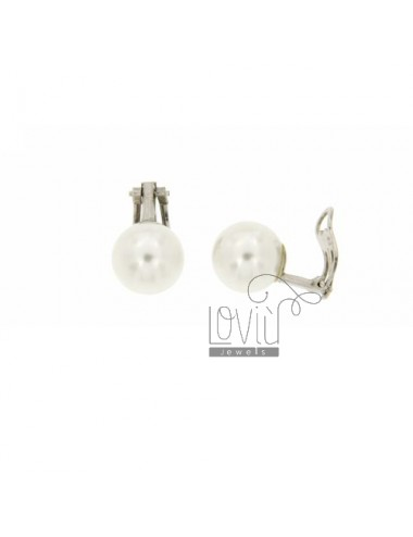 12 MM PEARL EARRINGS CLIPS IN RHODIUM TIT AG.925