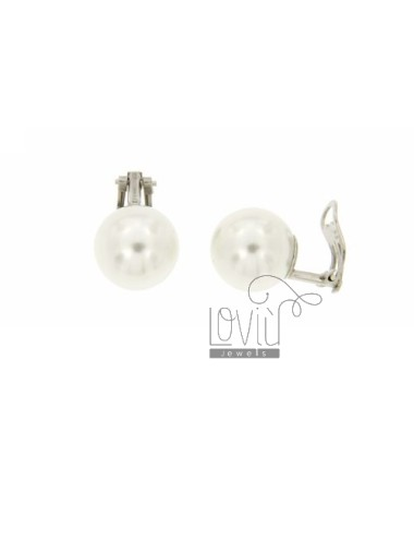 ORECCHINI A CLIPS CON PERLA MM 14 IN AG RODIATO TIT. 925‰