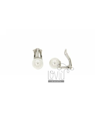 ORECCHINI A CLIPS CON PERLA MM 8 IN AG RODIATO TIT. 925‰