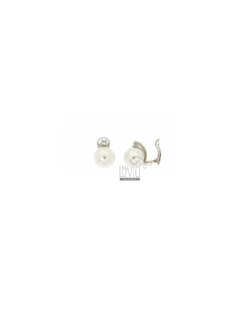 12 MM PEARL EARRINGS CLIPS AND ZIRCON IN RHODIUM TIT AG.925