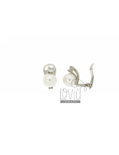 8 MM PEARL EARRINGS CLIPS AND ZIRCON IN RHODIUM TIT AG.925