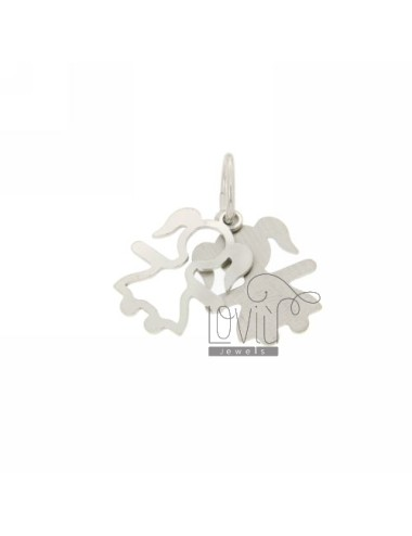 GIRL NECKLACE RHODIUM PLATED DOUBLE PLATE IN AG TIT 925 ‰