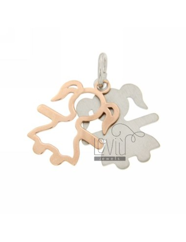 PENDANT GIRL DOUBLE SHEET 26x20 MM IN RHODIUM AG AND ROSE GOLD PLATED TIT 925