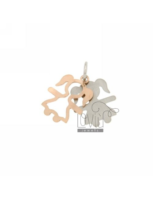 CHARM DOUBLE DOUBLE PLATE 18X13 MM IN RHODIUM PLATED AG AND ROSE GOLD TIT 925 ‰