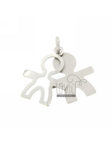 DOUBLE BOY PENDANT RHODIUM PLATE IN AG TIT 925