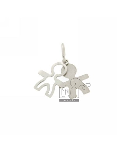 DOUBLE BOY PENDANT SLAB IN RHODIUM PLATED AG TIT 925 ‰