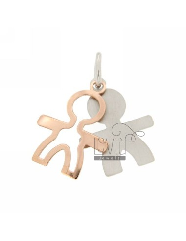 DOUBLE BOY PENDANT SLAB IN AG RHODIUM PLATED AND ROSE GOLD TIT 925