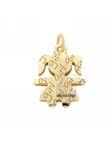 PENDANT GIRL GIRL IN YELLOW GOLD PLATED AG TIT 925