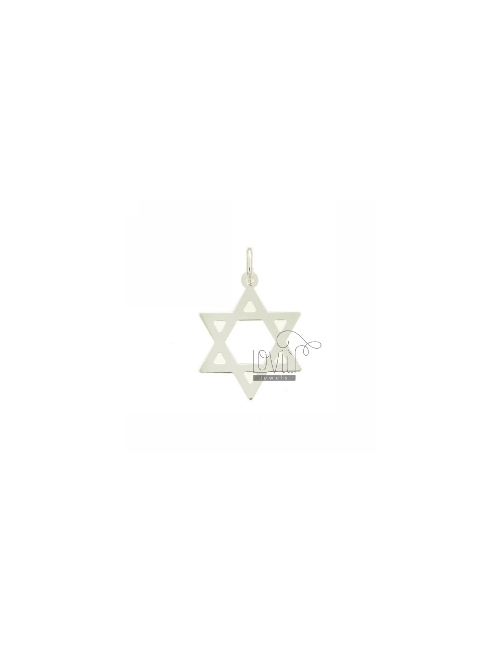 STAR OF DAVID PENDANT M 27X23 LASER CUTTING IN SILVER 925 ‰