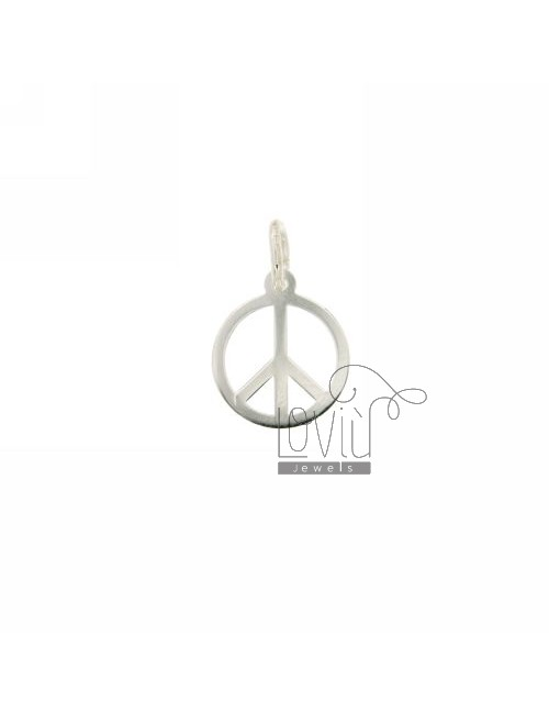 EARRINGS PEACE SYMBOL LASER CUTTING IN SILVER 925 ‰