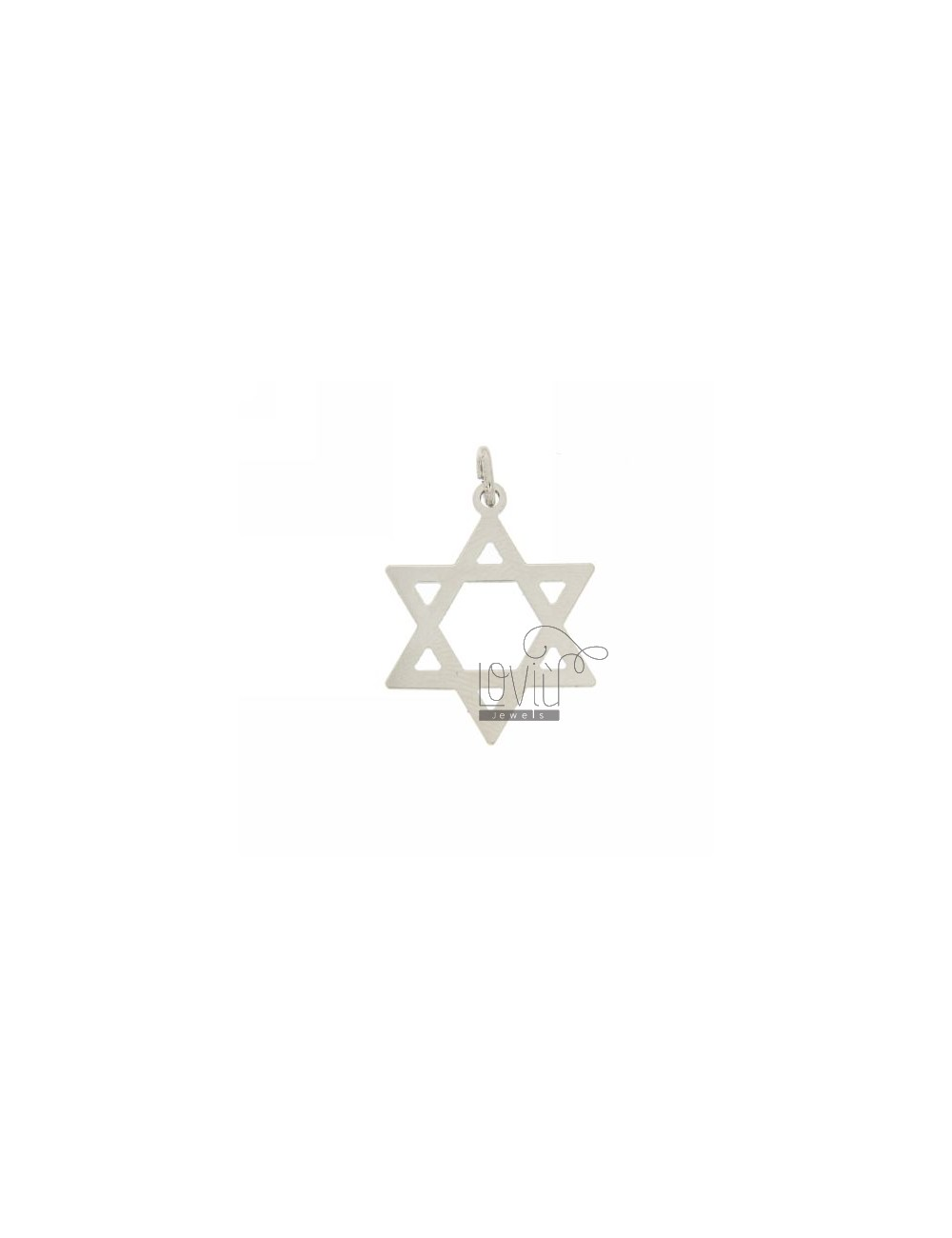 STAR OF DAVID PENDANT LASER CUTTING IN SILVER RHODIUM 925 ‰