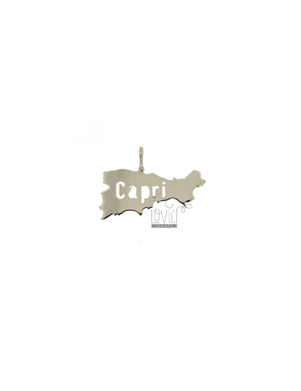 CIONDOLO ISOLA CAPRI TAGLIO LASER MM 17X37 IN ARG. 925‰