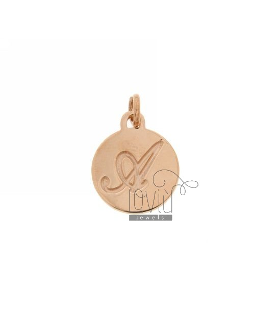 1.5 MM ROUND PENDANT LETTER A WITH ENGRAVED IN TIT AG 925 ROSE GOLD PLATED
