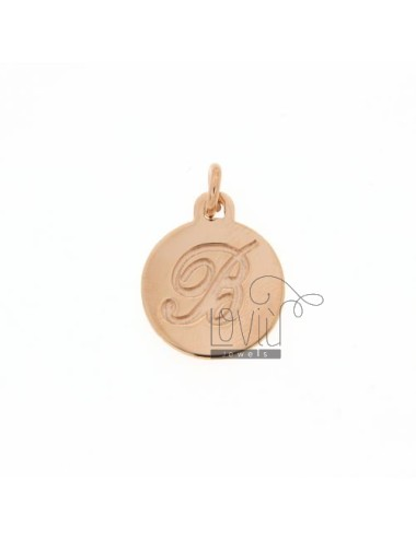 1.5 MM ROUND PENDANT LETTER B WITH ENGRAVED IN TIT AG 925 ROSE GOLD PLATED