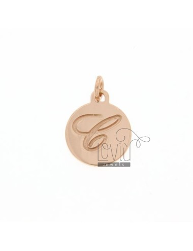 1.5 MM ROUND PENDANT LETTER C WITH ENGRAVED IN TIT AG 925 ROSE GOLD PLATED