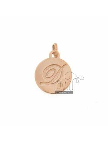 1.5 MM ROUND PENDANT LETTER D WITH ENGRAVED IN TIT AG 925 ROSE GOLD PLATED