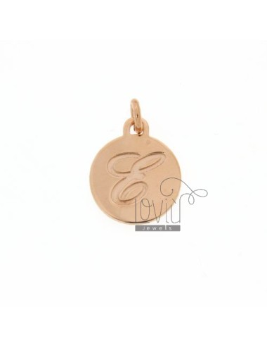 1.5 MM ROUND PENDANT LETTER E WITH ENGRAVED IN TIT AG 925 ROSE GOLD PLATED