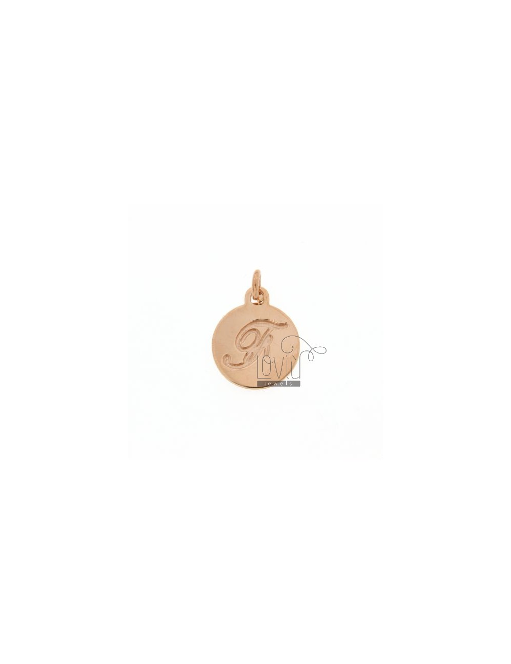 1.5 MM ROUND PENDANT LETTER F WITH ENGRAVED IN TIT AG 925 ROSE GOLD PLATED
