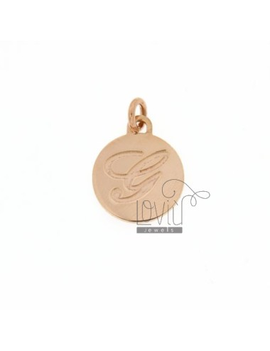 1.5 MM ROUND PENDANT LETTER G WITH ENGRAVED IN TIT AG 925 ROSE GOLD PLATED