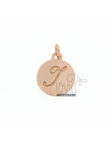 1.5 MM ROUND PENDANT LETTER I WITH ENGRAVED IN TIT AG 925 ROSE GOLD PLATED