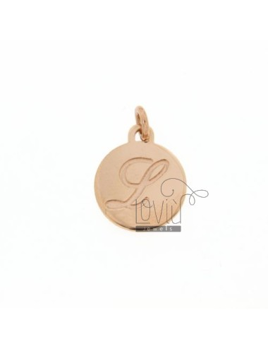 1.5 MM ROUND PENDANT LETTER L WITH ENGRAVED IN TIT AG 925 ROSE GOLD PLATED