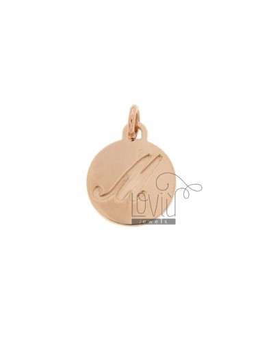 1.5 MM ROUND PENDANT LETTER M WITH ENGRAVED IN TIT AG 925 ROSE GOLD PLATED